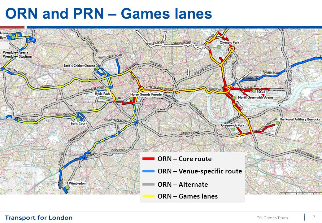 TfL Games Team ORN and PRN – Games lanes 7 ORN – Alternate ORN – Venue-specific route ORN – Core route ORN – Games lanes
