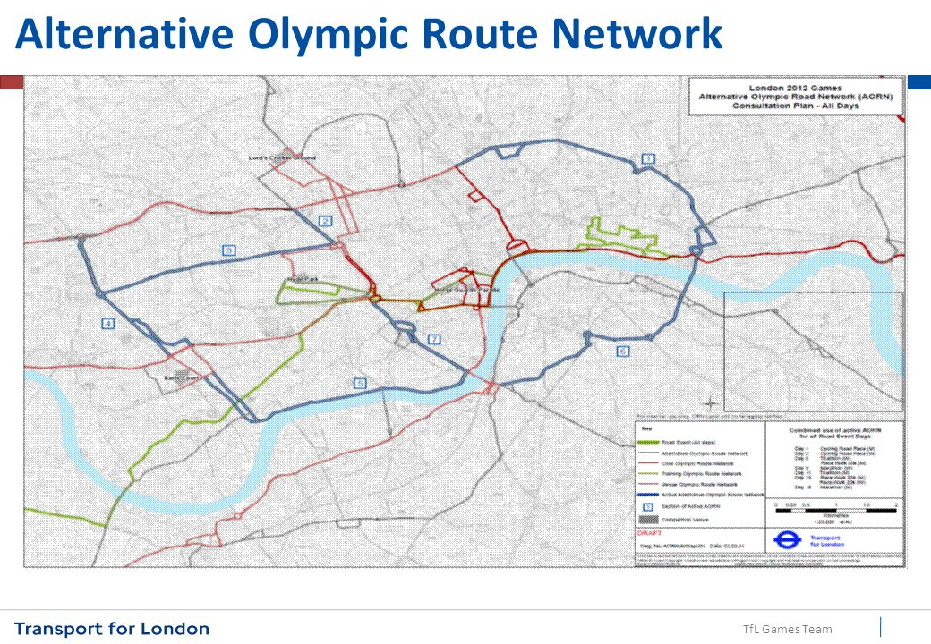 TfL Games Team 9 ORN ORN will operate along Euston Road (to the west of station) and south from Upper Woburn Place towards Holborn Route is a key link for Media Transport Hub, to and from the Wembley venues and south to central London venues and accommodation.