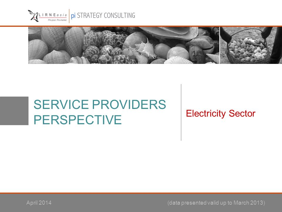 SERVICE PROVIDERS PERSPECTIVE Electricity Sector April 2014 (data presented valid up to March 2013)