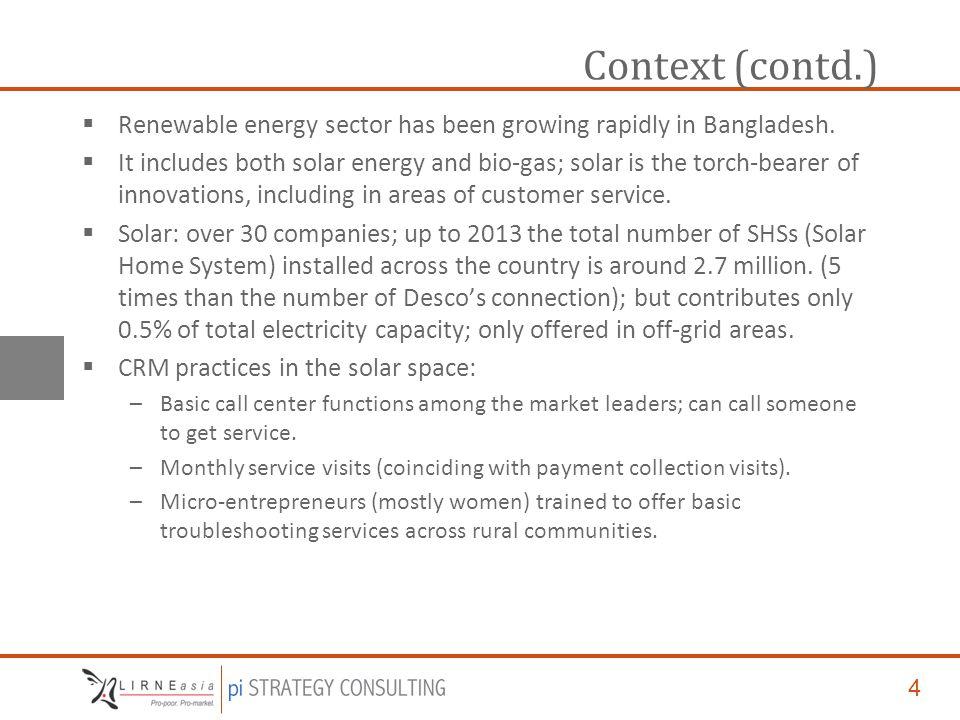 4 Context (contd.)  Renewable energy sector has been growing rapidly in Bangladesh.