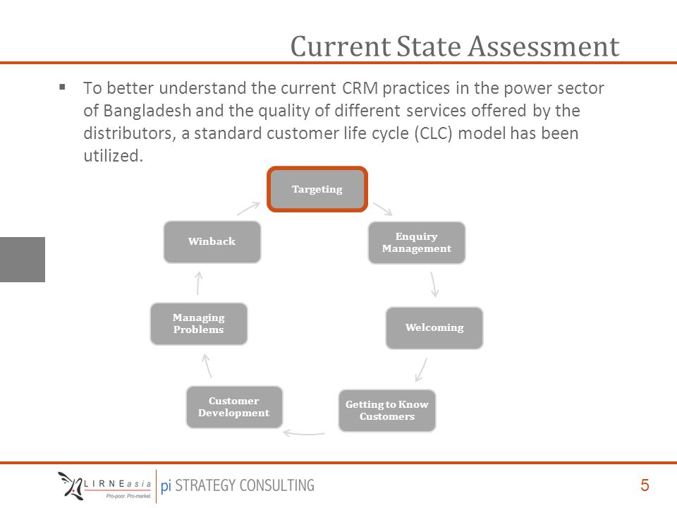5 Current State Assessment  To better understand the current CRM practices in the power sector of Bangladesh and the quality of different services offered by the distributors, a standard customer life cycle (CLC) model has been utilized.
