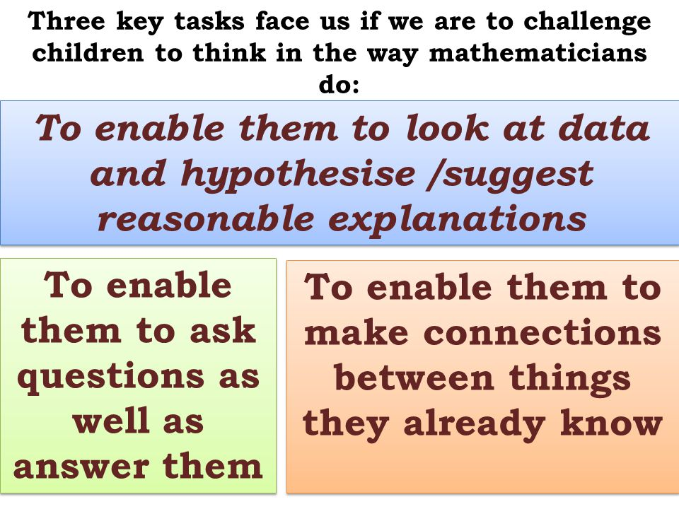 Three key tasks face us if we are to challenge children to think in the way mathematicians do: To enable them to ask questions as well as answer them