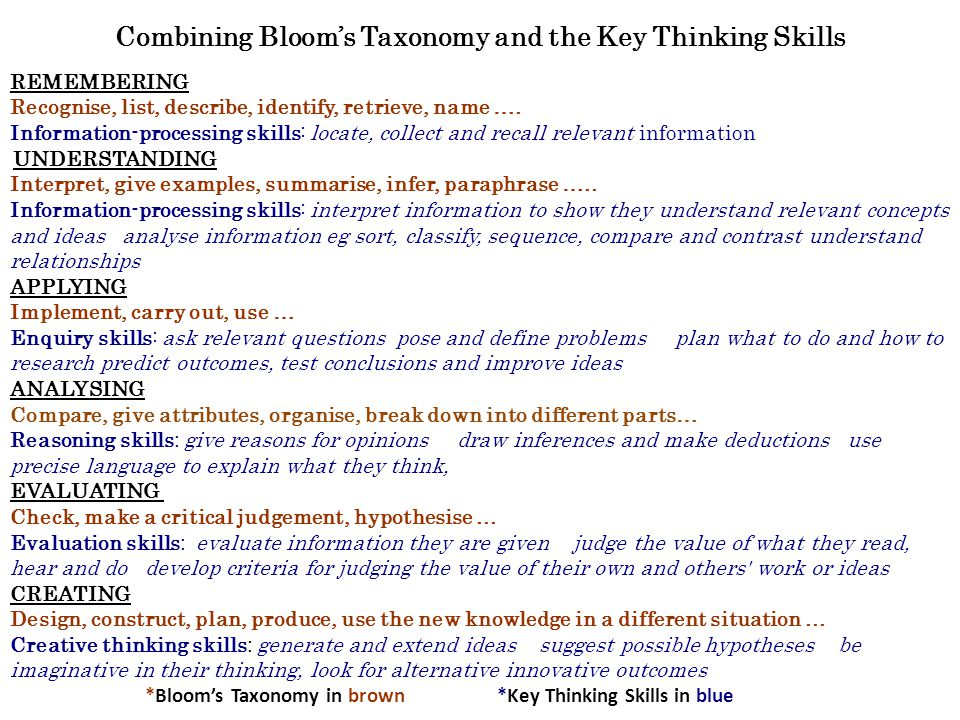 Combining Bloom's Taxonomy and the Key Thinking Skills REMEMBERING Recognise, list, describe, identify, retrieve, name …. Information-processing skill