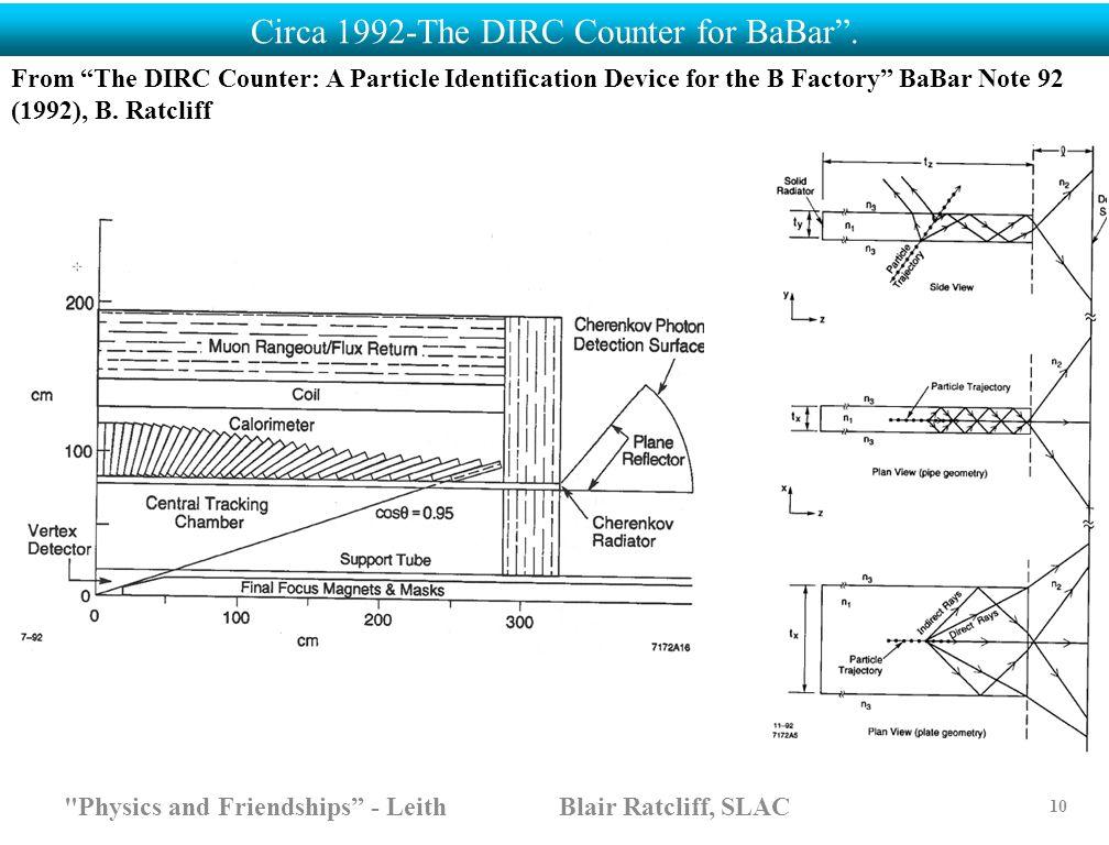 """Circa 1992-The DIRC Counter for BaBar""""."""
