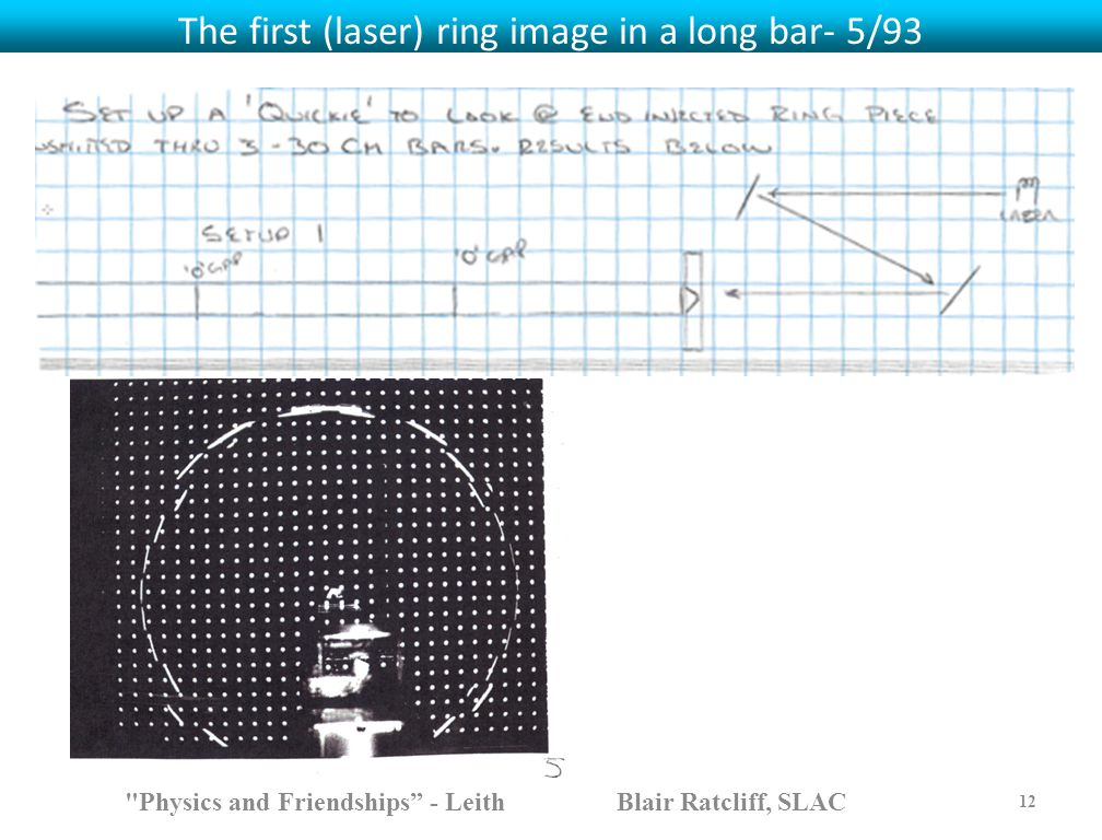 The first (laser) ring image in a long bar- 5/93 Physics and Friendships - Leith Blair Ratcliff, SLAC 12