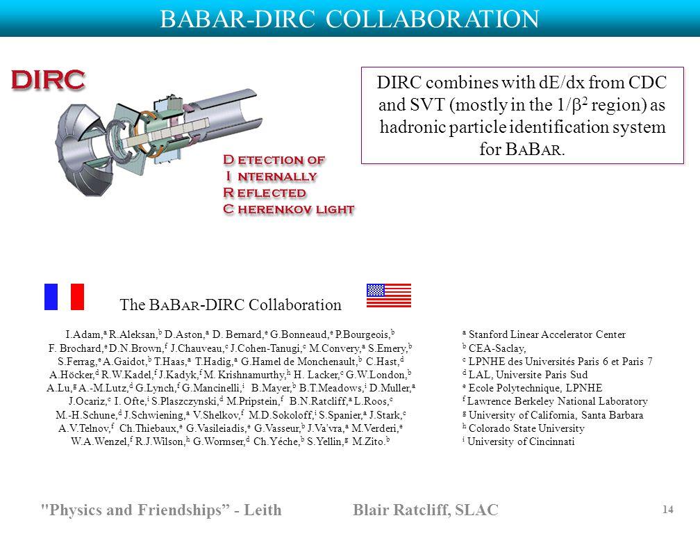 The B A B AR -DIRC Collaboration I.Adam, a R.Aleksan, b D.Aston, a D. Bernard, e G.Bonneaud, e P.Bourgeois, b F. Brochard, e D.N.Brown, f J.Chauveau,
