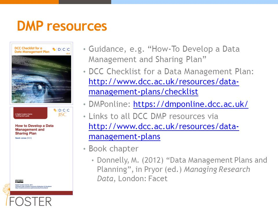 DMP resources Guidance, e.g.
