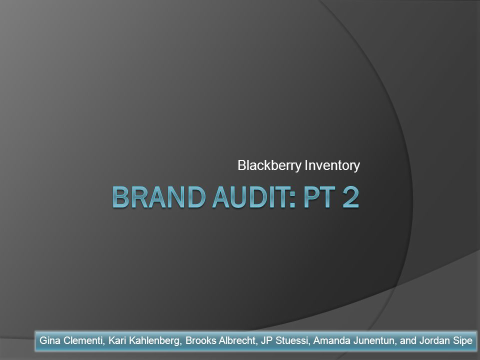 Blackberry Inventory Gina Clementi, Kari Kahlenberg, Brooks Albrecht, JP Stuessi, Amanda Junentun, and Jordan Sipe