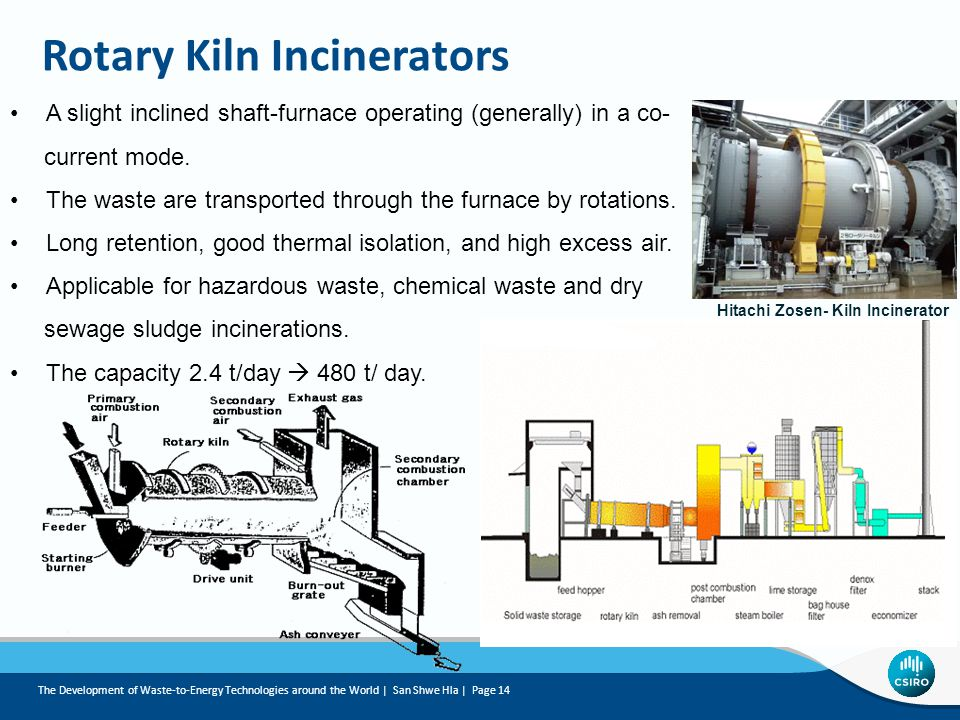 Rotary Kiln Incinerators A slight inclined shaft-furnace operating (generally) in a co- current mode.