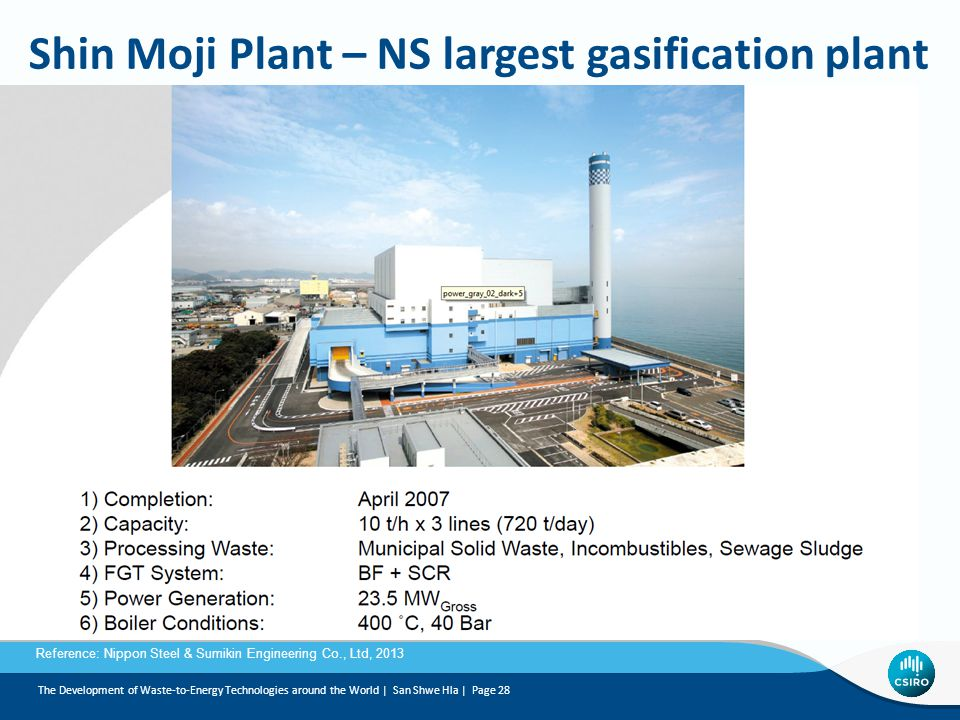 Shin Moji Plant – NS largest gasification plant Reference: Nippon Steel & Sumikin Engineering Co., Ltd, 2013 The Development of Waste-to-Energy Technologies around the World | San Shwe Hla | Page 28