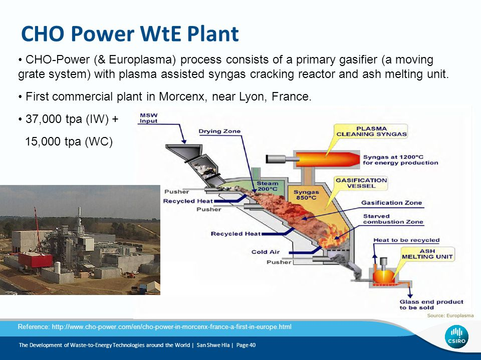 CHO Power WtE Plant CHO-Power (& Europlasma) process consists of a primary gasifier (a moving grate system) with plasma assisted syngas cracking reactor and ash melting unit.