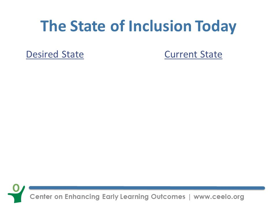 Center on Enhancing Early Learning Outcomes | www.ceelo.org The State of Inclusion Today Desired StateCurrent State