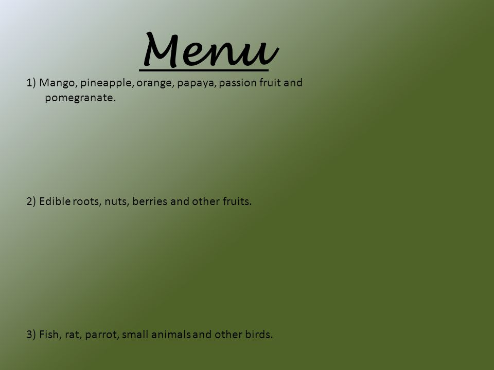 Menu 1) Mango, pineapple, orange, papaya, passion fruit and pomegranate. 2) Edible roots, nuts, berries and other fruits. 3) Fish, rat, parrot, small