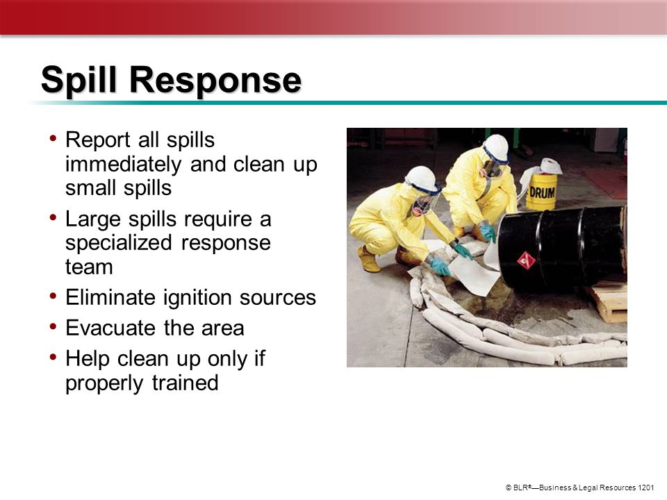 © BLR ® —Business & Legal Resources 1201 Spill Response Report all spills immediately and clean up small spills Large spills require a specialized res