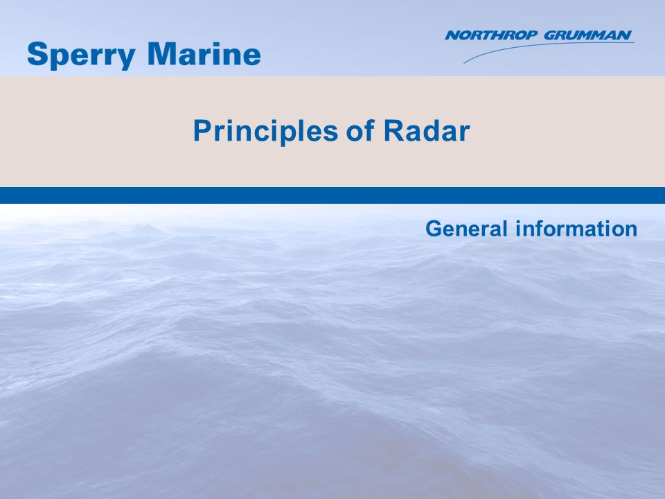Principles of Radar General information
