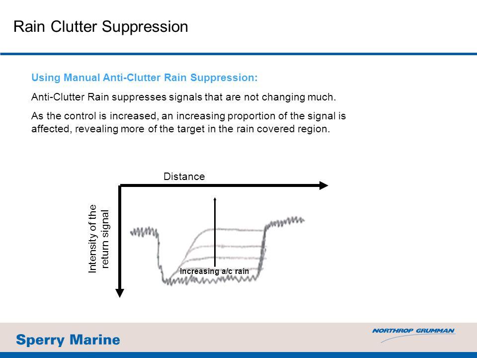 Using Manual Anti-Clutter Rain Suppression: Anti-Clutter Rain suppresses signals that are not changing much.