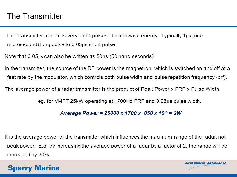 The Transmitter transmits very short pulses of microwave energy.