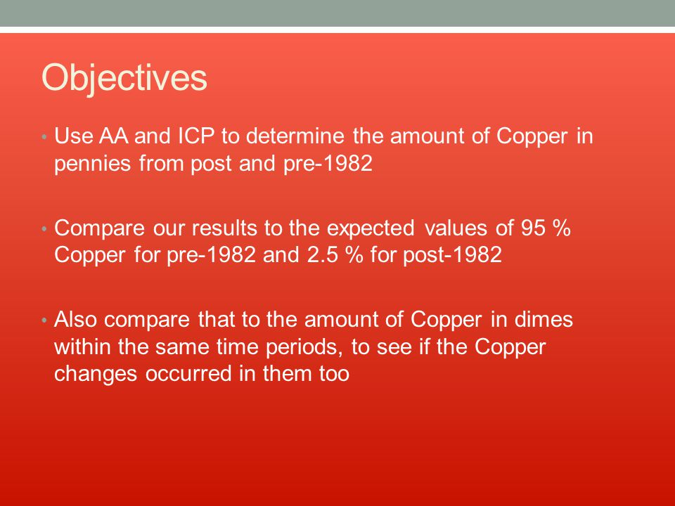 Objectives Use AA and ICP to determine the amount of Copper in pennies from post and pre-1982 Compare our results to the expected values of 95 % Copper for pre-1982 and 2.5 % for post-1982 Also compare that to the amount of Copper in dimes within the same time periods, to see if the Copper changes occurred in them too