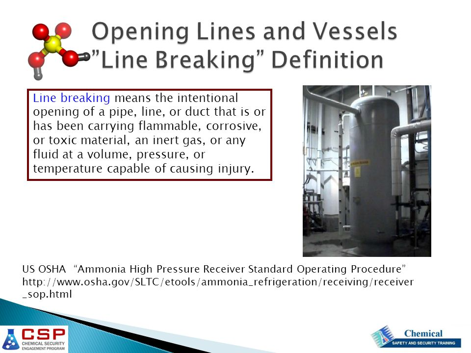 Line breaking means the intentional opening of a pipe, line, or duct that is or has been carrying flammable, corrosive, or toxic material, an inert gas, or any fluid at a volume, pressure, or temperature capable of causing injury.