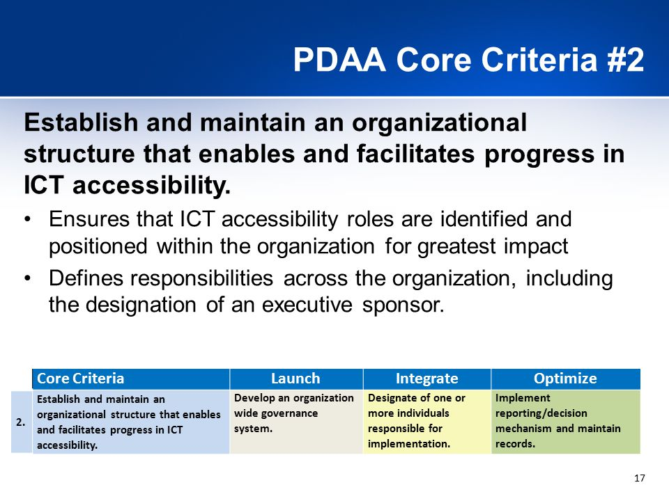17 PDAA Core Criteria #2 Establish and maintain an organizational structure that enables and facilitates progress in ICT accessibility.
