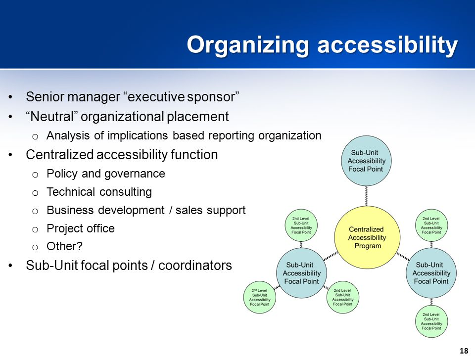 18 Organizing accessibility Senior manager executive sponsor Neutral organizational placement o Analysis of implications based reporting organization Centralized accessibility function o Policy and governance o Technical consulting o Business development / sales support o Project office o Other.