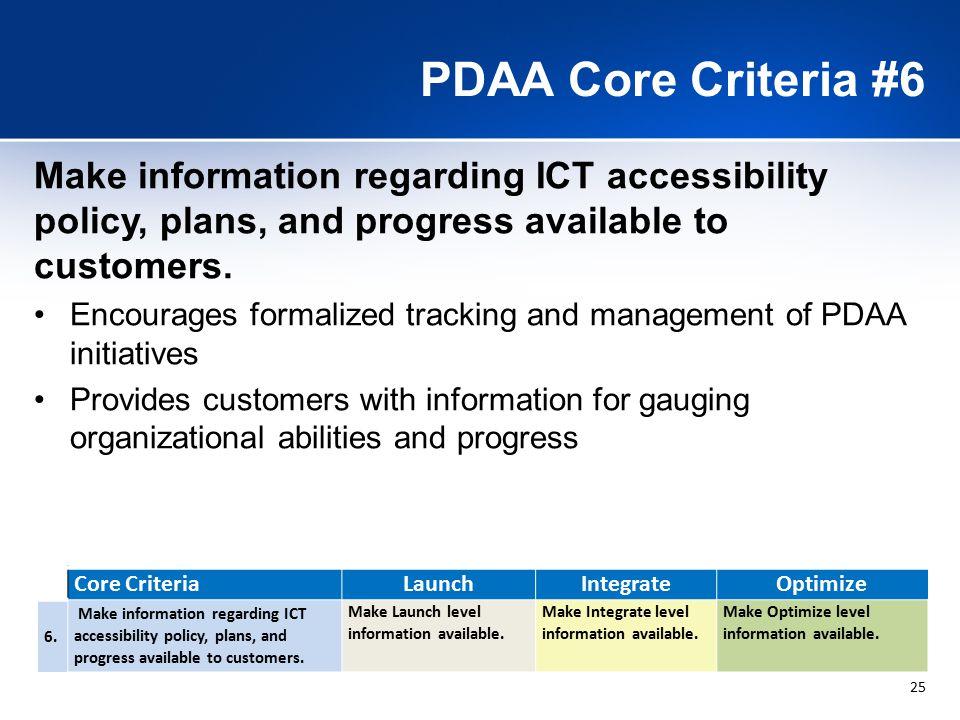 25 PDAA Core Criteria #6 Core CriteriaLaunchIntegrateOptimize 6.