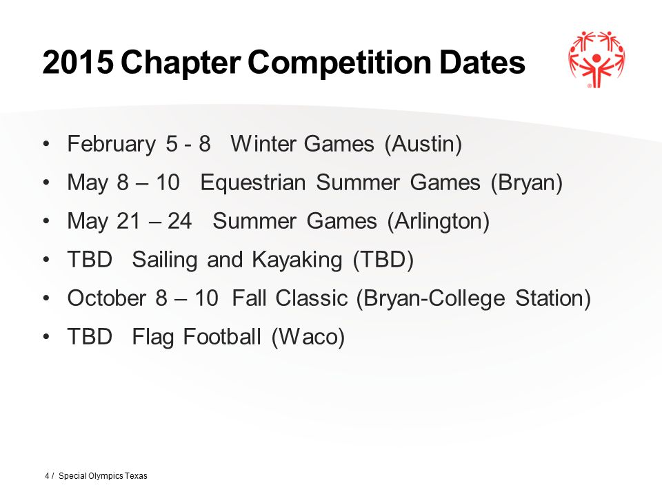 2015 Chapter Competition Dates February 5 - 8 Winter Games (Austin) May 8 – 10 Equestrian Summer Games (Bryan) May 21 – 24 Summer Games (Arlington) TB