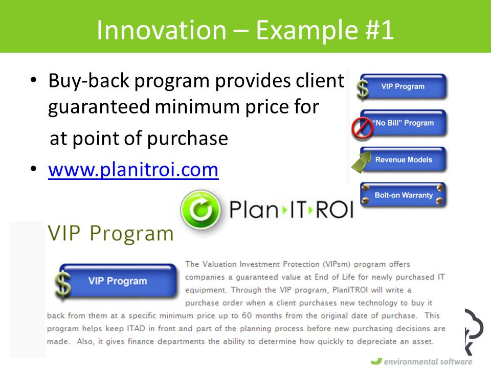 Innovation – Example #1 Buy-back program provides client with guaranteed minimum price for at point of purchase www.planitroi.com