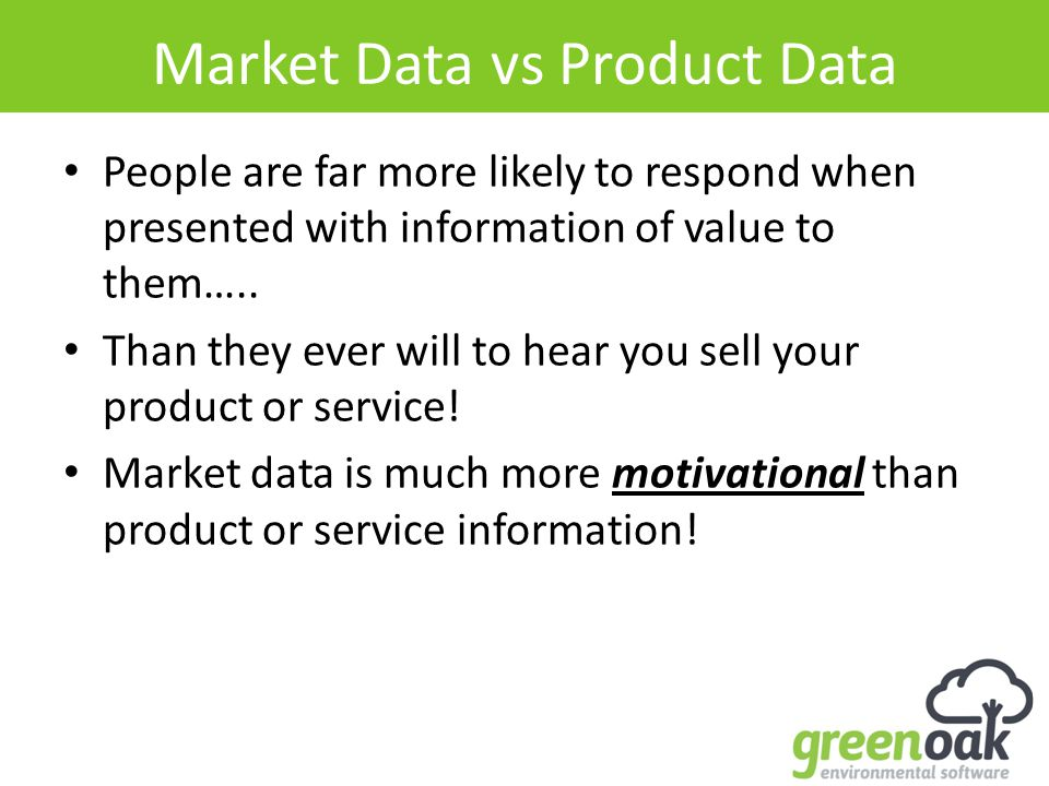 Market Data vs Product Data People are far more likely to respond when presented with information of value to them…..