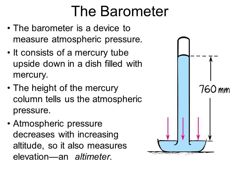 The Barometer The barometer is a device to measure atmospheric pressure.