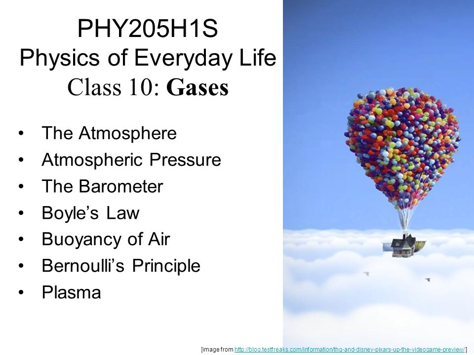PHY205H1S Physics of Everyday Life Class 10: Gases The Atmosphere Atmospheric Pressure The Barometer Boyle's Law Buoyancy of Air Bernoulli's Principle Plasma [image from http://blog.testfreaks.com/information/thq-and-disney-pixars-up-the-videogame-preview/ ]http://blog.testfreaks.com/information/thq-and-disney-pixars-up-the-videogame-preview/