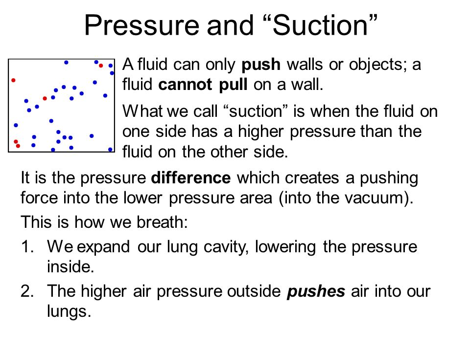 Pressure and Suction A fluid can only push walls or objects; a fluid cannot pull on a wall.