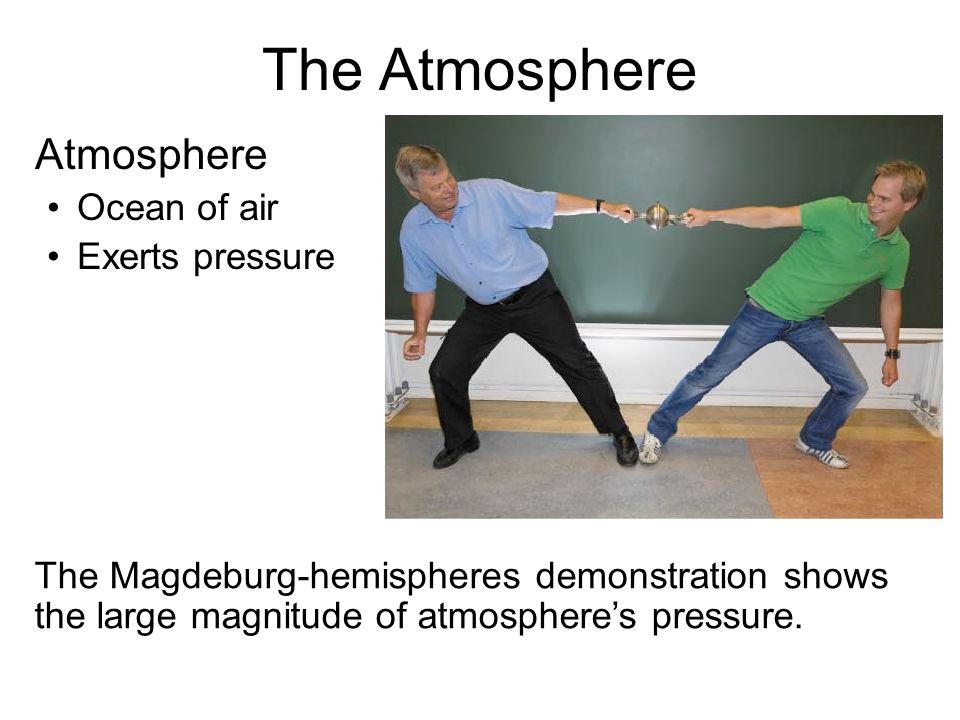 The Atmosphere Atmosphere Ocean of air Exerts pressure The Magdeburg-hemispheres demonstration shows the large magnitude of atmosphere's pressure.