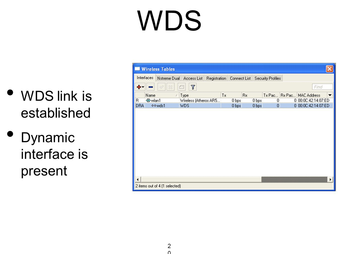 WDS WDS link is established Dynamic interface is present 203203203