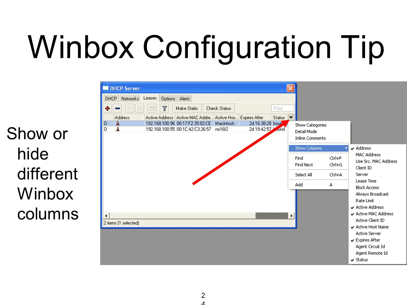 Winbox Configuration Tip Show or hide different Winbox columns 243243243