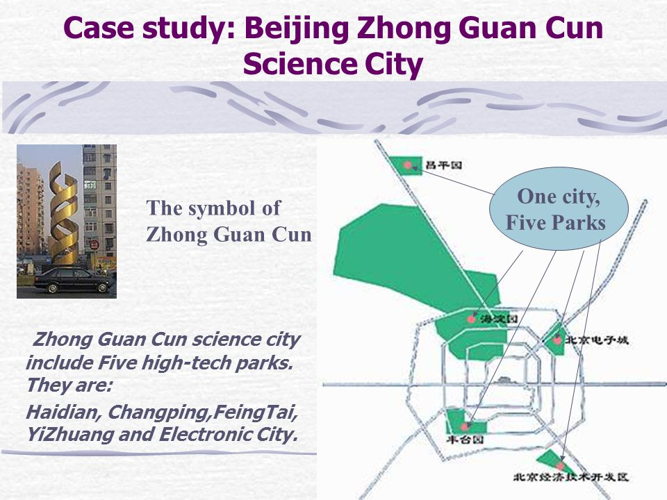 Case study: Beijing Zhong Guan Cun Science City Zhong Guan Cun science city include Five high-tech parks.