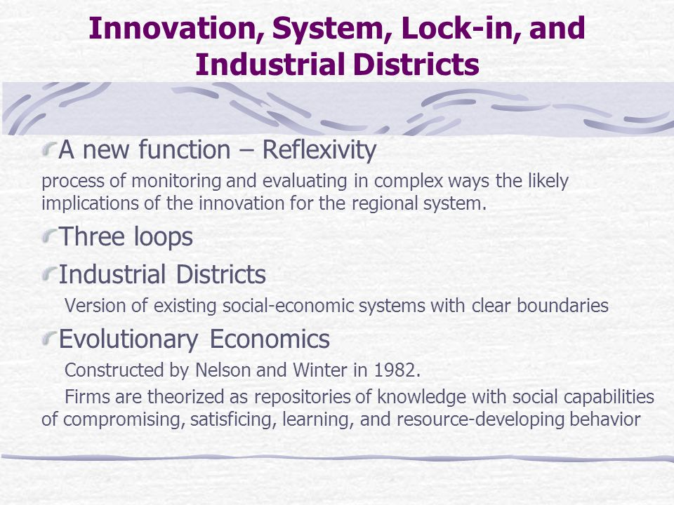 Innovation, System, Lock-in, and Industrial Districts A new function – Reflexivity process of monitoring and evaluating in complex ways the likely implications of the innovation for the regional system.