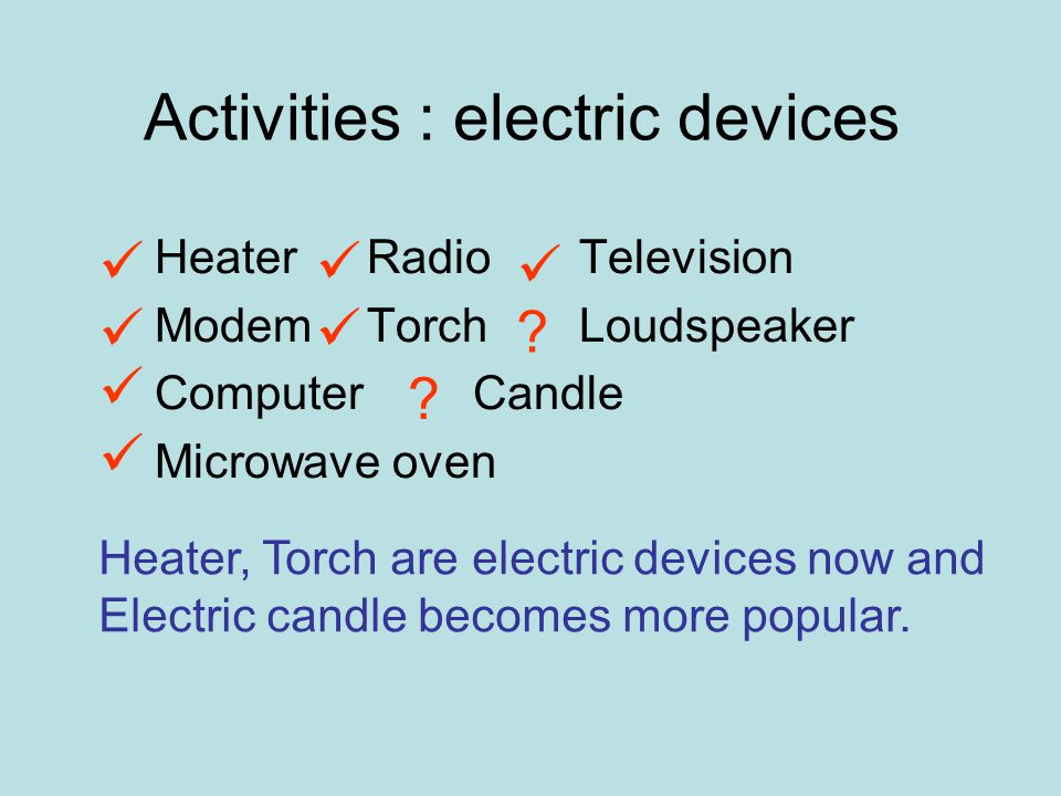 HeaterRadioTelevision ModemTorchLoudspeaker ComputerCandle Microwave oven Activities : electric devices .