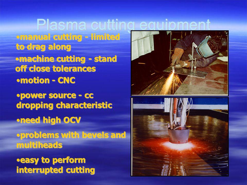 manual cutting - limited to drag alongmanual cutting - limited to drag along machine cutting - stand off close tolerancesmachine cutting - stand off c