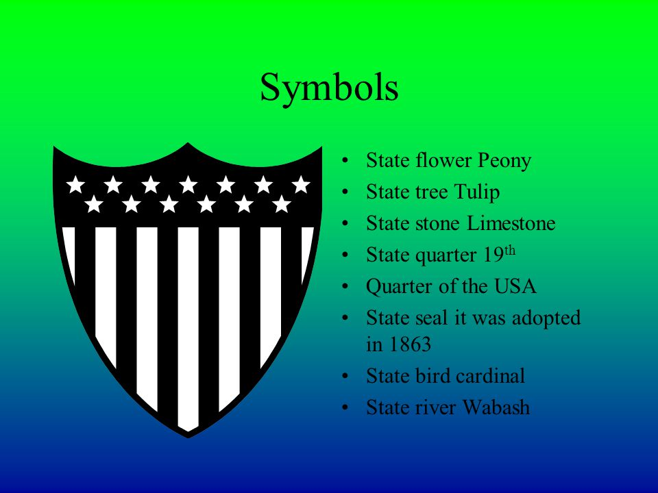 Symbols State flower Peony State tree Tulip State stone Limestone State quarter 19 th Quarter of the USA State seal it was adopted in 1863 State bird