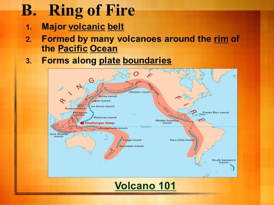 C.Volcanoes occur at…. 1.Divergent Boundaries -mid-ocean ridge