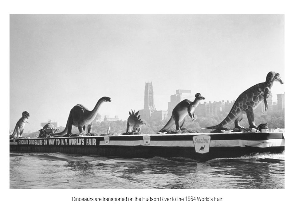 Dinosaurs are transported on the Hudson River to the 1964 World s Fair.