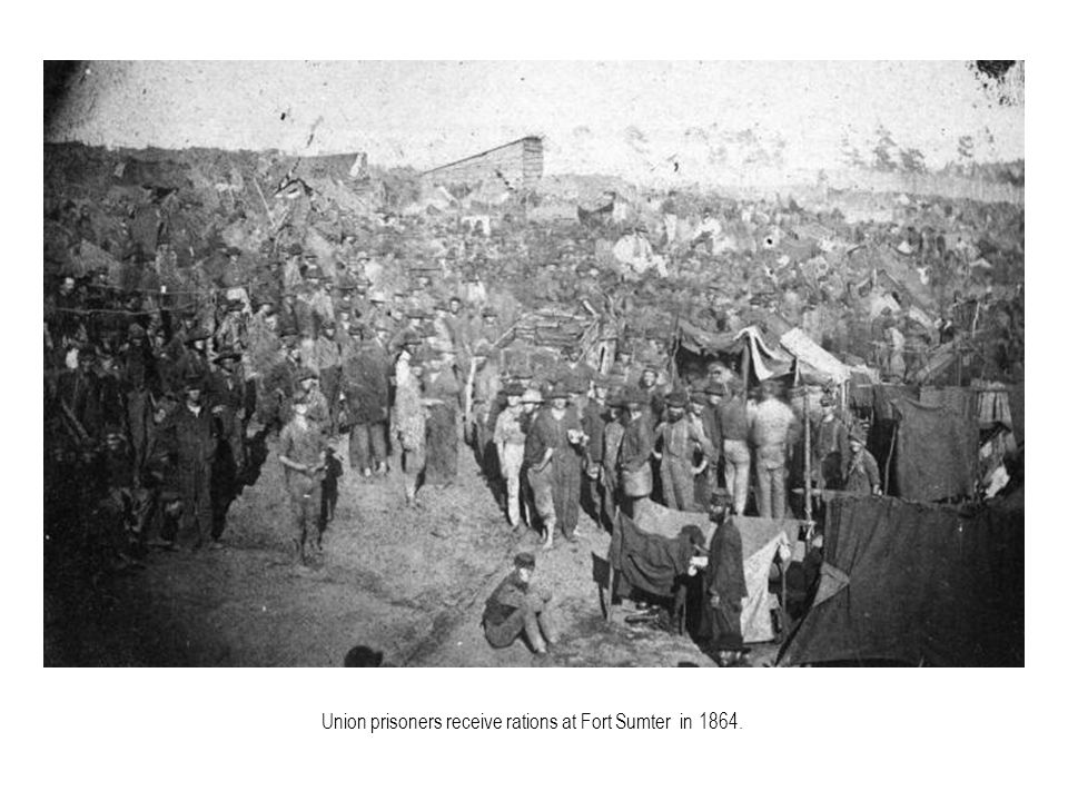 Union prisoners receive rations at Fort Sumter in 1864.