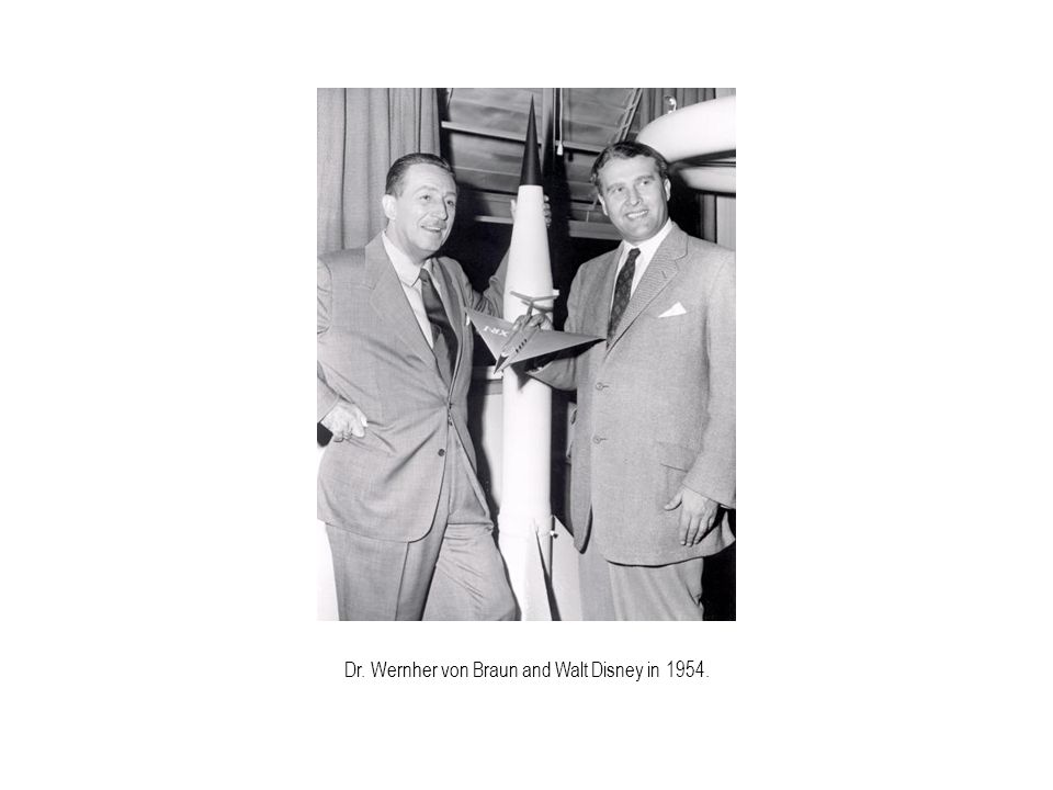 Dr. Wernher von Braun and Walt Disney in 1954.