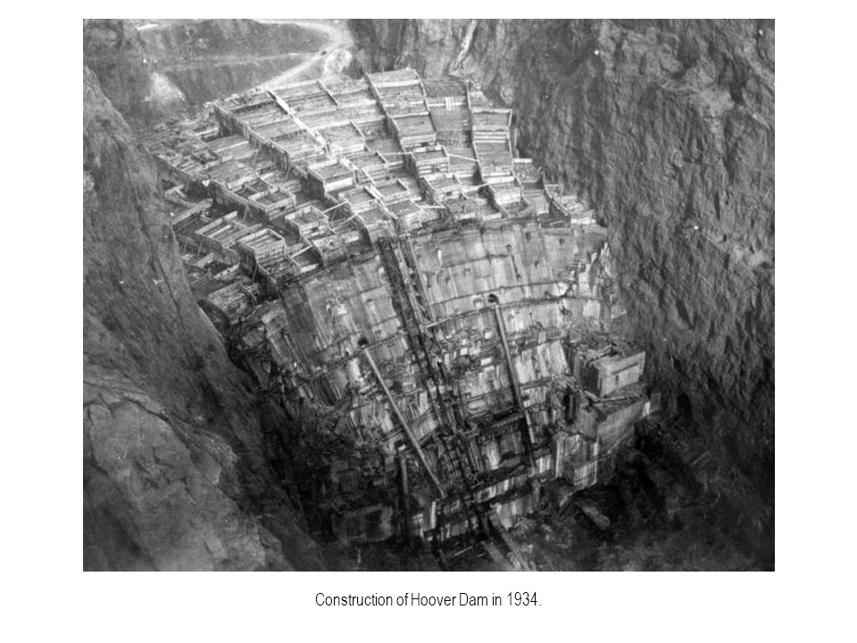 Construction of Hoover Dam in 1934.