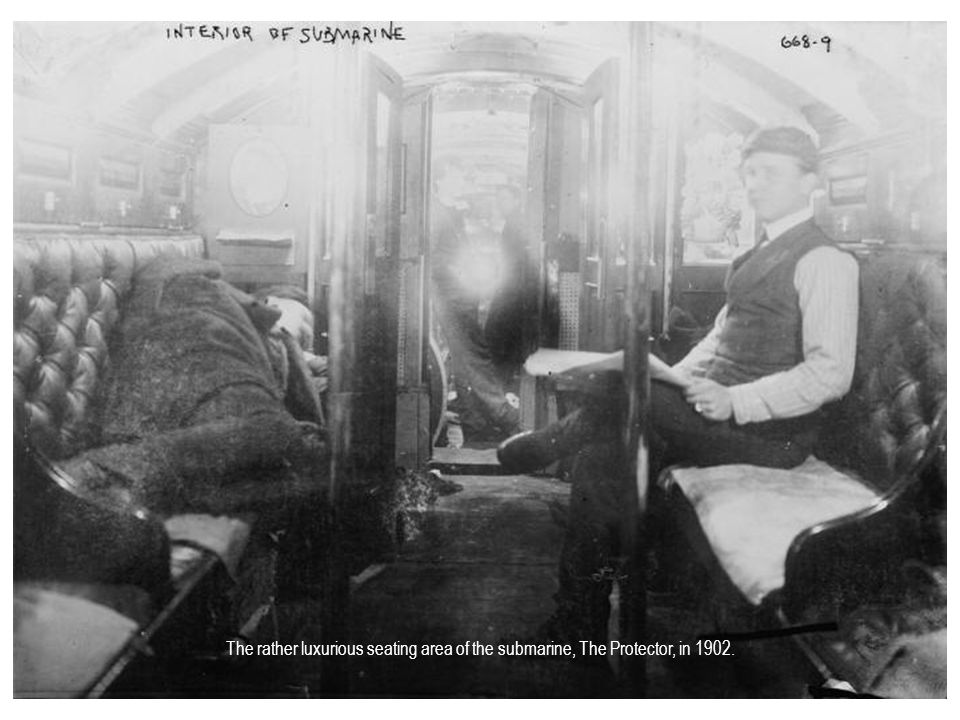 The rather luxurious seating area of the submarine, The Protector, in 1902.