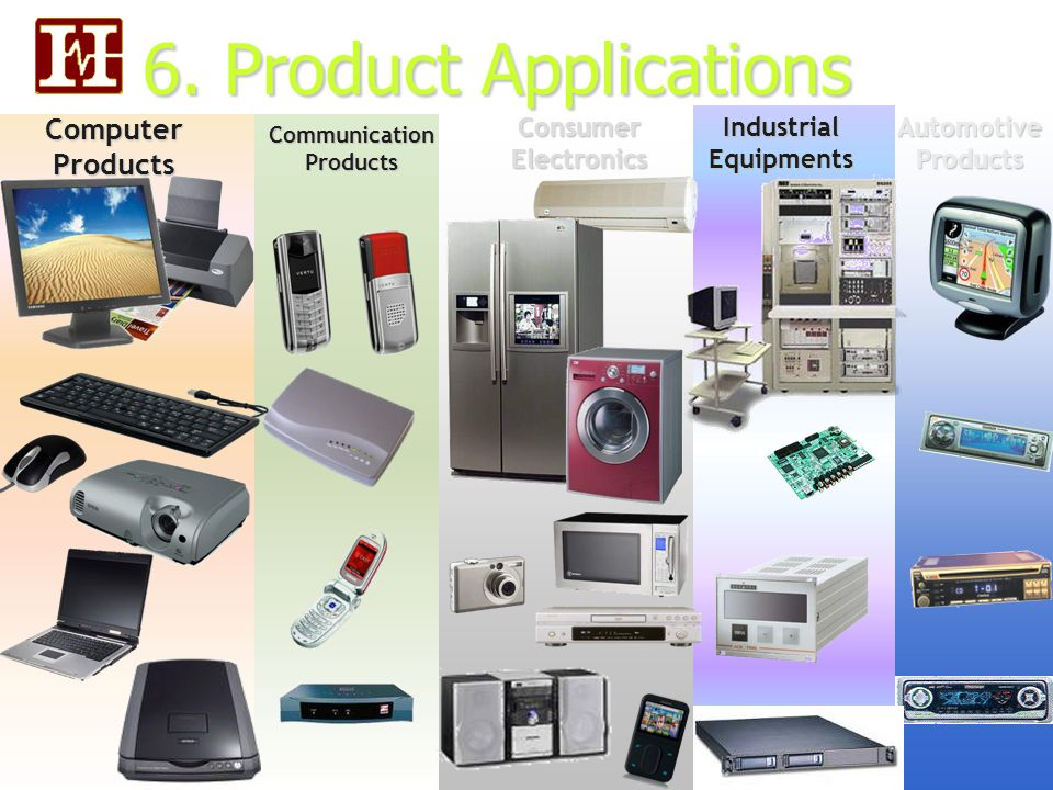 6. Product Applications Communication Products Computer Products Industrial Equipments Consumer Electronics Automotive Products