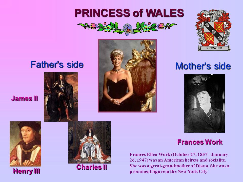 PRINCESS of WALES Father s side Mother s side Frances Work James II Henry III Charles II Charles II Frances Ellen Work (October 27, 1857 - January 26, 1947) was an American heiress and socialite.