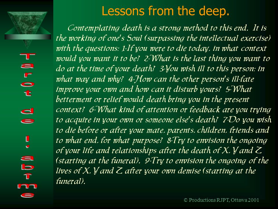 © Productions RJPT, Ottawa 2001 Lessons from the deep.