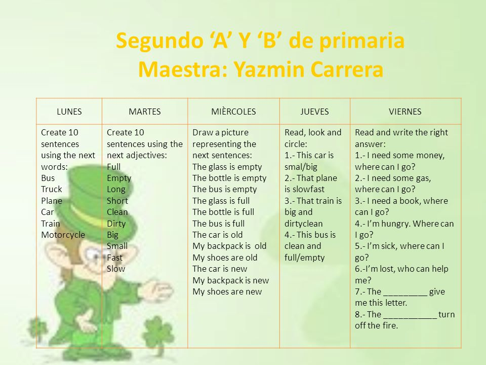 Segundo 'A' Y 'B' de primaria Maestra: Yazmin Carrera LUNESMARTESMIÈRCOLESJUEVESVIERNES Create 10 sentences using the next words: Bus Truck Plane Car Train Motorcycle Create 10 sentences using the next adjectives: Full Empty Long Short Clean Dirty Big Small Fast Slow Draw a picture representing the next sentences: The glass is empty The bottle is empty The bus is empty The glass is full The bottle is full The bus is full The car is old My backpack is old My shoes are old The car is new My backpack is new My shoes are new Read, look and circle: 1.- This car is smal/big 2.- That plane is slowfast 3.- That train is big and dirtyclean 4.- This bus is clean and full/empty Read and write the right answer: 1.- I need some money, where can I go.